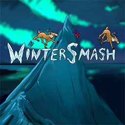 WinterSmash logo - a winter physics-puzzle game with crazy reindeers